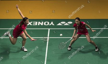 Misaki Matsutomo (r) and Ayaka Takahashi of Japan in Action Against Bao Yixin and Tang Jinhua of China During the Women's Doubles Final Match of the Badminton Malaysian Open at Putra Stadium in Kuala Lumpur Malaysia 19 January 2014 Malaysia Kuala Lumpur
