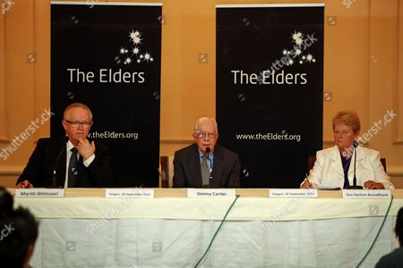 Jimmy Carter Former Us President (c) Martti Ahtisaari Former Finland President (l) and Gro Harlem Brundtland (r) Former Norway Prime Minister Are Seen During the Press Conference About the Elders's Delegation Three-day Visit to Myanmar in Yangon Myanmar 26 September 2013 the Elders Independent Leaders Group Delegation Lead by Jimmy Carter Met Myanmar President Thein Sein and Other Senior Government Officials Political Leaders Religious Leaders and Civil Society Groups Including Women's Organisation During Their Three Days Visit to Myanmar Myanmar Yangon