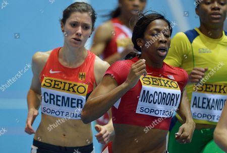 Esther Cremer of Germany (l) and Francena Mccorory of Usa (c) in Action During the Women's 400 Metres Qualification in Competition at the Athletics World Indoor Championships at Ergo Arena in Sopot Poland 07 March 2014 Poland Sopot