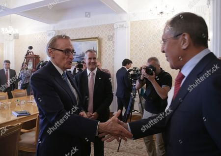 Russian Foreign Minister Sergei Lavrov (r) Welcomes Australian Foreign Minister Bob Carr (l)during Their Meeting in Moscow Russia 03 September 2013 Russian Federation Moscow