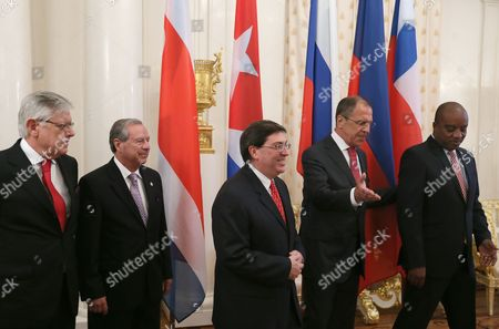 Russian Foreign Minister Sergei Lavrov (2nd-r) Poses For Pictures with Haitian Foreign Minister Richard Casimir (r) Cuban Foreign Minister Bruno Eduardo Rodriguez (c) Costa Rican Foreign Minister Enrique Castillo (2nd-l) and Chilean Deputy Foreign Minister Fernando Schmidt Aritzia (l) During Meeting of the Foreign Ministers of the Member States of the Community of Latin American and Caribbean States (celac) in Moscow Russia 29 May 2013 Russian Federation Moscow