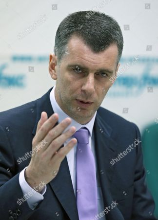 Stock Picture of Russian Civil Platform Party Leader Mikhail Prokhorov Gestures Speaking at His Press Conference in Moscow Russia 13 June 2013 Mikhail Prokhorov Has Denied Civil Platform Plans to Take Part in the Moscow Mayoral Elections in September 2013 He Said That His Party Will Be Concentrating on Elections to the Moscow City Legislature in 2014 Russian Federation Moscow