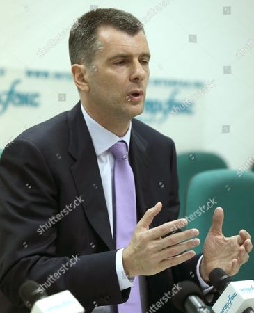 Russian Civil Platform Party Leader Mikhail Prokhorov Gestures Speaking at His Press Conference in Moscow Russia 13 June 2013 Mikhail Prokhorov Has Denied Civil Platform Plans to Take Part in the Moscow Mayoral Elections in September 2013 He Said That His Party Will Be Concentrating on Elections to the Moscow City Legislature in 2014 Russian Federation Moscow