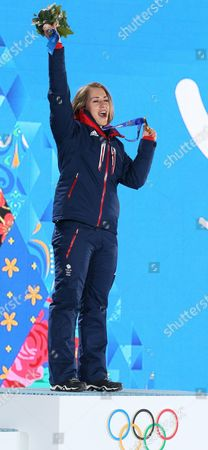 Gold Medalist Elizabeth Yarnold of Great Britain During the Medal Ceremony For Women's Skeleton Event at the Sochi 2014 Olympic Games Sochi Russia 15 February 2014 Russian Federation Sochi