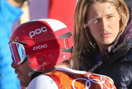 Bode Miller of the Usa and His Wife Morgan Beck Miller Seen During the Downhill Training Session of the Men's Super Combined Race at the Rosa Khutor Alpine Center During the Sochi 2014 Olympic Games Krasnaya Polyana Russia 13 February 2014 Russian Federation Krasnaya Polyana
