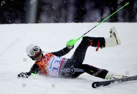 Hubertus Von Hohenlohe of Mexico Crashes During the First Run of the Men's Slalom Race at the Rosa Khutor Alpine Center During the Sochi 2014 Olympic Games Krasnaya Polyana Russia 22 February 2014 Russian Federation Krasnaya Polyana