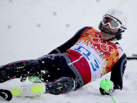 Hubertus Von Hohenlohe of Mexico Reacts After Crashing During the First Run of the Men's Slalom Race at the Rosa Khutor Alpine Center During the Sochi 2014 Olympic Games Krasnaya Polyana Russia 22 February 2014 Russian Federation Krasnaya Polyana