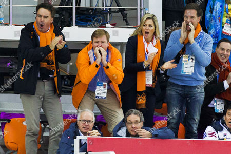 Camiel Eurlings Ioc Member of Netherlands Next to Dutch King Willem Alexander and His Wife Maxima Dutch Prime Minister Mark Rutte (left to Right) Reacts to the Dutch Speed Skaters During the Men's 5000m Speed Skating Event in the Adler Arena at the Sochi 2014 Olympic Games Sochi Russia 08 February 2014 Russian Federation Sochi