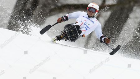 Akira Kano of Japan in Action During the Men's Alpine Skiing Super-g Sitting Race in Rosa Khutor Alpine Center at the Sochi 2014 Paralympic Games Krasnaya Polyana Russia 09 March 2014 Russian Federation Krasnaya Polyana