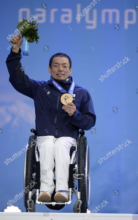 Gold Medalist Akira Kano of Japan Celebrates During the Medal Ceremony of the Men's Alpine Skiing Super G Sitting Race at the Sochi 2014 Paralympic Games in Krasnaya Polyana Russia 09 March 2014 Russian Federation Krasnaya Polyana