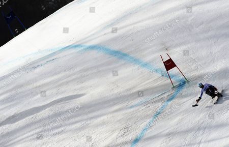 Claudia Loesch of Austria in Action During the Women's Alpine Skiing Super G Sitting Race in the Rosa Khutor Alpine Center at the Sochi 2014 Paralympic Games Krasnaya Polyana Russia 10 March 2014 Russian Federation Krasnaya Polyana