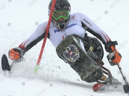 Claudia Loesch of Austria in Action During the Women's Alpine Skiing Slalom First Run Sitting Race in Rosa Khutor Alpine Center at the Sochi 2014 Paralympic Games Krasnaya Polyana Russia 12 March 2014 Russian Federation Krasnaya Polyana