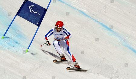 Marie Bochet of France in Action During the Women's Giant Slalom 1st Run - Standing Race in Rosa Khutor Alpine Center at the Sochi 2014 Paralympic Games Krasnaya Polyana Russia 16 March 2014 Russian Federation Krasnaya Polyana