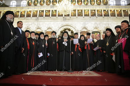 Stock Image of From (l - R): Spiritual Leader of the Melkite Greek Catholic Church the Patriarch of Antioch Gregory Iii Laham Syriac Orthodox Patriarch of Antioch Ignatius Aphrem Ii Greek Orthodox Patriarchate of Antioch John X Yazigi Maronite Patriarch Bechara Rai and Syriac Catholic Church Ignatius Joseph Iii Yonan Pose For a Picture During a Spiritual Meeting of the Patriarchs of Antioch and All East at the Greek Patriarchate of Damascus Syria 08 June 2015 Epa/youssef Badawi Syrian Arab Republic Damscus