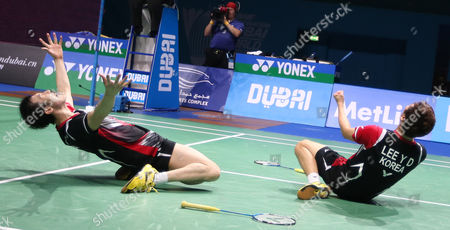 Lee Yong Dae and Yoo Yeon Seong From South Korea Celebrate After Winning Against Chai Biao and Hong Wei From China During Their Men's Double Final Match of the Bwf Destination Dubai World Superseries Finals at the Hamdan Sports Complex in Dubai United Arab Emirates on 21 December 2014 United Arab Emirates Dubai