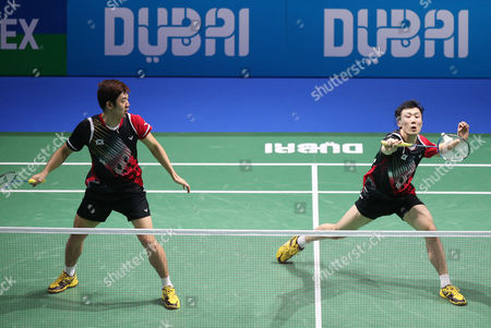 Lee Yong Dae and Yoo Yeon Seong From South Korea in Action Against Chai Biao and Hong Wei From China During Their Men's Double Final Match of the Bwf Destination Dubai World Superseries Finals at the Hamdan Sports Complex in Dubai United Arab Emirates on 21 December 2014 United Arab Emirates Dubai