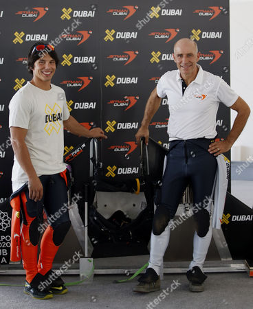 Swiss Pilot and Aviation Enthusiast Yves Rossy (r) Known As the Jetman Poses with French Vince Reffett (l) in Dubai United Arab Emirates on 12 May 2015 United Arab Emirates Dubai