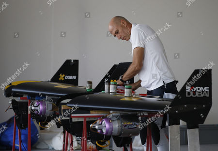 Swiss Pilot and Aviation Enthusiast Yves Rossy Known As the Jetman Prepares His Equipment Before His Flying Over the Man-made Island of Palm (jumeirah Palm Island) in Dubai United Arab Emirates on 12 May 2015 United Arab Emirates Dubai