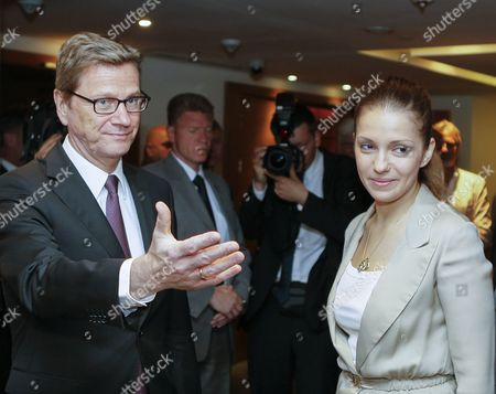 German Foreign Minister Guido Westerwelle (l) Welcomes Eugenia Tymoshenko the Daughter of Jailed Ukrainian Opposition Leader Yulia Tymoshenko During Their Meeting in Kiev Ukraine 21 June 2013 Guido Westerwelle Arrived in Ukraine For One-day Working Visit Ukraine Kiev