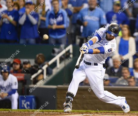 Stock Photo of Kansas City Royals Left Fielder Alex Gordon Hits a Three-run Double Off Los Angeles Angels Starting Pitcher C J Wilson in the First Inning of Game Three of Their American League Division Series Mlb Playoff Baseball Game at Kauffman Stadium in Kansas City Missouri Usa 05 October 2014 United States Kansas City