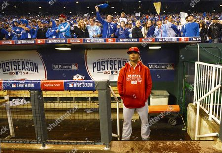 Los Angeles Angels Player Luis Jimenez Stands in the Dugout After Getting Swept by the Kansas City Royals in Game Three of Their American League Division Series Mlb Playoff Baseball Game at Kauffman Stadium in Kansas City Missouri Usa 05 October 2014 United States Kansas City