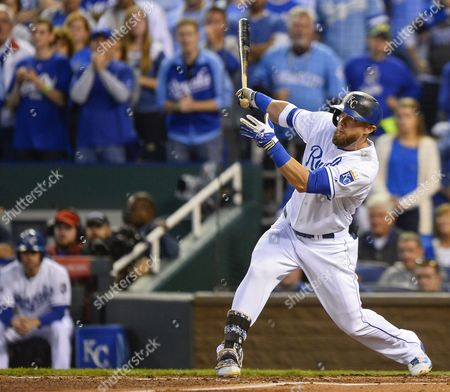 Kansas City Royals Left Fielder Alex Gordon Hits a Three-run Double Off Los Angeles Angels Starting Pitcher C J Wilson in the First Inning of Game Three of Their American League Division Series Mlb Playoff Baseball Game at Kauffman Stadium in Kansas City Missouri Usa 05 October 2014 United States Kansas City