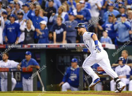Kansas City Royals Left Fielder Alex Gordon Runs Up the First Base Line After Hitting a Three-run Double Off Los Angeles Angels Starting Pitcher C J Wilson in the First Inning of Game Three of Their American League Division Series Mlb Playoff Baseball Game at Kauffman Stadium in Kansas City Missouri Usa 05 October 2014 United States Kansas City