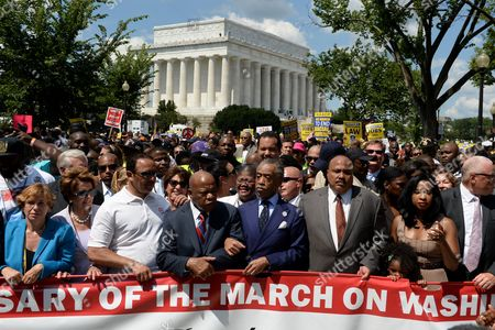Us House Minority Leader Nancy Pelosi (2-l) Civil Rights Leader and Democratic Representative From Georgia John Lewis (4-l) Activist Al Sharptpon (4-r) Martin Luther King Iii (3-r) and Arndrea Waters King (2-r) Participate in the March on Washington From the Lincoln Memorial to the Washington Monument in Washington Dc Usa 24 August 2013 the Rally and March is Held to Commemorate the 50th Anniversary of the 28 August 1963 March on Washington Led by the Late Dr Martin Luther King Jr where He Famously Gave His 'I Have a Dream' Speech United States Washington
