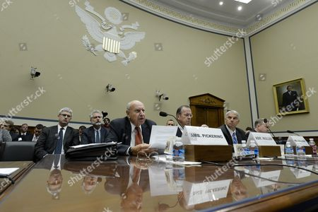 (l-r) Chairman of the Benghazi Accountability Review Board Thomas Pickering Retired Navy Admiral and Vice Chairman of the Benghazi Accountability Review Board Michael Mullen Chairman of the Independent Panel on Best Practices and Former Director of the Us Secret Service Mark Sullivan and Member of the Independent Panel on Best Practices Todd Keil Appear Before the Us House Oversight and Government Reform Committee Hearing on 'Reviews of the Benghazi Attacks and Unanswered Questions' on Capitol Hill in Washington Dc Usa 19 September 2013 the Us Mission in Benghazi Libya was Attacked 11 September 2012 Resulting in the Death of Ambassador J Christopher Stevens and Three Other Americans United States Washington