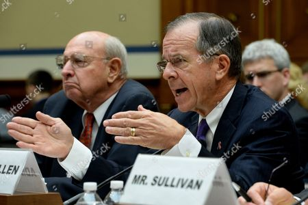 Retired Navy Admiral and Vice Chairman of the Benghazi Accountability Review Board Michael Mullen (r) Answers a Question Beside Chairman of the Benghazi Accountability Review Board Thomas Pickering (l) During the Us House Oversight and Government Reform Committee Hearing on 'Reviews of the Benghazi Attacks and Unanswered Questions' on Capitol Hill in Washington Dc Usa 19 September 2013 the Us Mission in Benghazi Libya was Attacked 11 September 2012 Resulting in the Death of Ambassador J Christopher Stevens and Three Other Americans United States Washington
