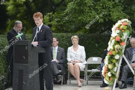 Us Congressman Joseph Kennedy Iii Delivers Remarks at the Gravesite of Us President John F Kennedy During a Flame Lighting Ceremony at Arlington National Cemetery in Arlington Virginia Usa 18 June 2013 the Eternal Flame Will Light a Torch That Will Be Carried to New Ross County Wexford Ireland where It Will Light Another Eternal Flame at a Memorial Commemorating the 50th Anniversary of President Kennedy's Visit to Ireland in 1963 United States Arlington