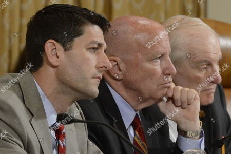 Republican Representative From Wisconsin Paul Ryan (l) Republican Representative From Texas Kevin Brady (c) and Republican Representative From Texas Sam Johnson (r) Listen to Witnesses During the Us House Ways and Means Committee Hearing on 'Organizations Targeted by the Internal Revenue Service For Their Personal Beliefs' on Capitol Hill in Washington Dc Usa 04 June 2013 the Obama Administration Reportedly Continues to Face Criticism During the Ongoing Scandal Regarding the Internal Revenue Service Targeting Conservative Groups Seeking Tax-exempt Status United States Washington