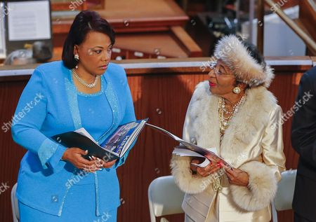 Martin Luther King's Daughter Bernice King (l) Listens to King's Sister Christine King Farris (r) During the Annual Martin Luther King Jr Commemorative Service at the Ebenezer Baptist Church in Atlanta Georgia Usa 19 January 2015 the Martin Luther King Jr Federal Holiday Commemorates what Would Have Been the Slain Civil Rights Leader's 86th Birthday United States Atlanta