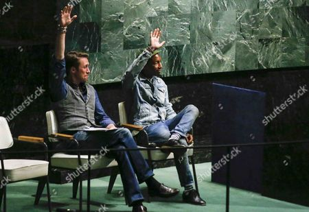Us Musician Pharrell Williams (r) and Conservationist Philippe Cousteau Jr Gesture at United Nations Headquarters As Part of an Event Marking International Day of Happiness in New York New York Usa 20 March 2015 United States New York