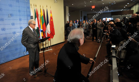 Lakhdar Brahimi (l) United Nations and Arab League Special Envoy to Syria Speaks During a Press Conference Following United Nations Security Council Consultations where He Discussed His Decision to Resign From His Envoy Role at United Nations Headquarters in New York New York Usa 13 March 2014 Brahimi who Will Step Down at the End of May Has Been in the Role As Envoy Since 2012 United States New York