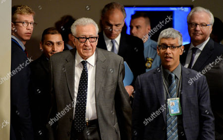 Lakhdar Brahimi (3rd L) United Nations and Arab League Special Envoy to Syria Arrives to a Press Conference Following United Nations Security Council Consultations where He Discussed His Decision to Resign From His Envoy Role at United Nations Headquarters in New York New York Usa 13 March 2014 Brahimi who Will Step Down at the End of May Has Been in the Role As Envoy Since 2012 United States New York