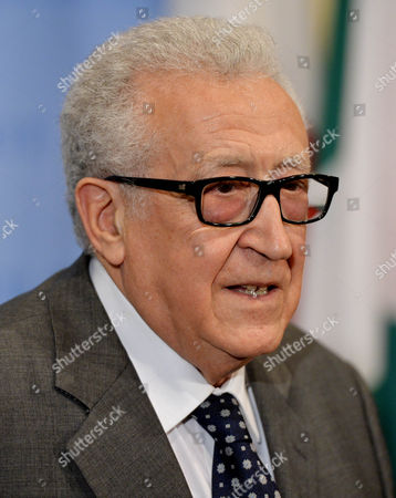 Lakhdar Brahimi United Nations and Arab League Special Envoy to Syria Speaks During a Press Conference Following United Nations Security Council Consultations where He Discussed His Decision to Resign From His Envoy Role at United Nations Headquarters in New York New York Usa 13 March 2014 Brahimi who Will Step Down at the End of May Has Been in the Role As Envoy Since 2012 United States New York