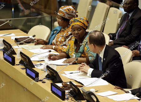 Nkosazana Clarice Dlamini-zuma Chairperson of the African Union Commission (c) Addresses the Implementation of the Peace Security and Cooperation Framework For the Drc and the Region Meeting Next to United Nations Secretary General Ban Ki-moon (r) During the 68th Session of the United Nations General Assembly at United Nations Headquarters in New York New York Usa 23 September 2013 United States United Nations