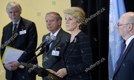 Australian Foreign Minister Julie Bishop (3rd L) Speaks to Reporters While Standing with (l-r) Erkki Tuomioja Minister For Foreign Affairs of Finland Enrique Castillo Minister For Foreign Affairs of Costa Rica and Alistair Burt Foreign Office Minister of the United Kingdom During a Press Conference About an Arms Trade Treaty Event on the Sidelines of the General Debate of the 68th Session of the United Nations General Assembly at United Nations Headquarters in New York New York Usa 25 September 2013 United States New York