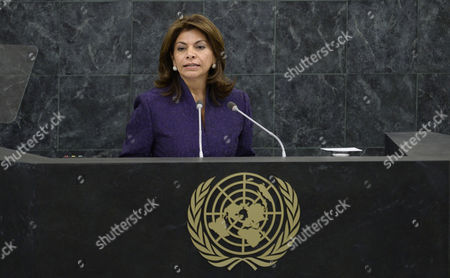 Laura Chinchilla Miranda President of Costa Rica Speaks During the General Debate of the 68th Session of the United Nations General Assembly at United Nations Headquarters in New York New York Usa 24 September 2013 United States New York