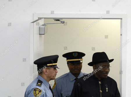Goodluck Ebele Jonathan (r) President of of Nigeria Arrives to Speak During the General Debate of the 68th Session of the United Nations General Assembly at United Nations Headquarters in New York New York Usa 24 September 2013 United States New York