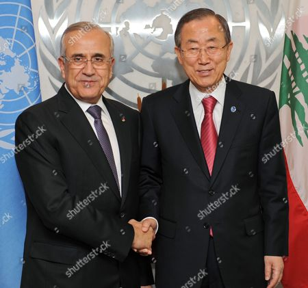 United Nations Secretary General Ban Ki-moon (r) Greets Michel Suleiman President of Lebanon For Their Meeting During the General Debate of the 68th Session of the United Nations General Assembly at United Nations Headquarters in New York New York Usa 25 September 2013 United States New York