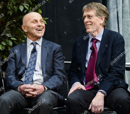 University of Chicago Professors Eugene F Fama (l) and Lars Peter Hansen (r) Laugh As They Are Introduced at a News Conference After Winning the 2013 Nobel Prize in Economic Sciences For Trend Spotting in Asset Markets in Chicago Illinois Usa 14 October 2013 the Prize Will Be Shared by University of Chicago Professors Lars Peter Hansen and Eugene F Fama and Yale University Professor Robert J Shiller United States Chicago