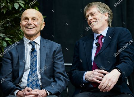 University of Chicago Professors Eugene F Fama (l) and Lars Peter Hansen (r) Laugh As They Appear Together at a News Conference After Winning the 2013 Nobel Prize in Economic Sciences For Trend Spotting in Asset Markets in Chicago Illinois Usa 14 October 2013 the Prize Will Be Shared by University of Chicago Professors Lars Peter Hansen and Eugene F Fama and Yale University Professor Robert J Shiller United States Chicago