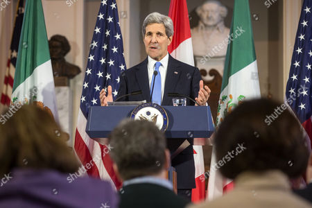 United States Secretary of State John Kerry (pictured) Speaks During a Press Conference with Canadian Foreign Minister John Baird and Mexican Foreign Secretary Jose Antonio Meade at Historic Faneuil Hall in Boston Massachusetts Usa 31 January 2015 Secretary of State Kerry is Hosting the North American Ministerial Trilateral Meeting United States Boston