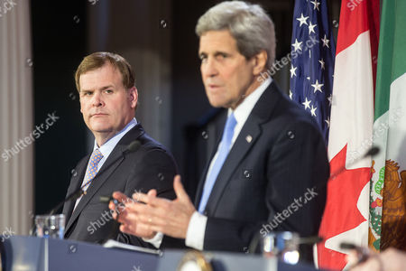 United States Secretary of State John Kerry (r) Speaks During a Press Conference with Canadian Foreign Minister John Baird (l) at Historic Faneuil Hall in Boston Massachusetts Usa 31 January 2015 Secretary of State Kerry is Hosting the North American Ministerial Trilateral Meeting United States Boston