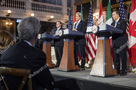 United States Secretary of State John Kerry (c) Speaks During a Press Conference with Canadian Foreign Minister John Baird (l) and Mexican Foreign Secretary Jose Antonio Meade (r) at Historic Faneuil Hall in Boston Massachusetts Usa 31 January 2015 Secretary of State Kerry is Hosting the North American Ministerial Trilateral Meeting United States Boston