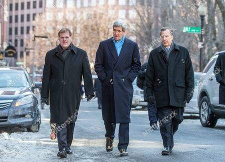 United States Secretary of State John Kerry (c) Walks with Canadian Foreign Minister John Baird (l) and Mexican Foreign Secretary Jose Antonio Meade (r) Along Union Street on Their Way to Lunch at the Union Oyster House in Boston Massachusetts Usa 31 January 2015 Secretary of State Kerry is Hosting the North American Ministerial Trilateral Meeting United States Boston