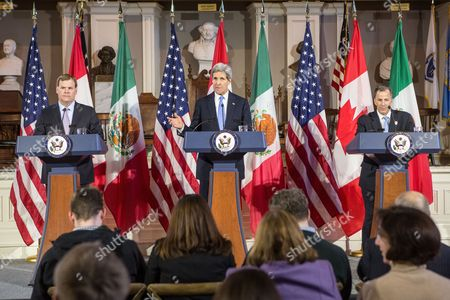 United States Secretary of State John Kerry (c) Spoke During a Press Conference with Canadian Foreign Minister John Baird (l) and Mexican Foreign Secretary Jose Antonio Meade (r) at Historic Faneuil Hall in Boston Massachusetts Usa 31 January 2015 Secretary of State Kerry is Hosting the North American Ministerial Trilateral Meeting United States Boston