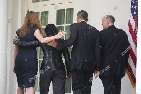 Us President Barack Obama (2-r) Departs the Rose Garden After Naming Susan Rice (2-l) As His New National Security Adviser and Samantha Power (l) As the New Us Ambassador to the United Nations at the White House in Washington Dc Usa 05 June 2013 Rice Will Replace Tom Donilon (r) who is Retiring From the Post of National Security Advisor United States Washington